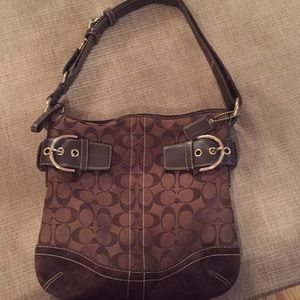 COACH Signature brown canvass/suede bag.
